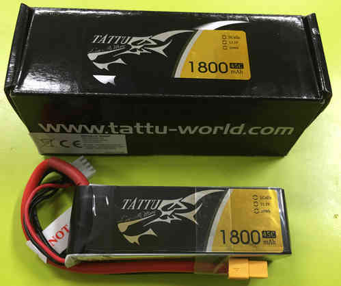 Tattu 1800mAh 45C 3S1P Lipo Battery Pack